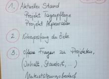 Dorferneuerung Wallgau Flipchart am 10.11.2014 aktueller Stand, Ziele nächste Schritte