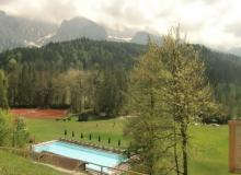 4 Wochen vor dem Gipfel. Garten mit Blick auf das Wettersteingebirge