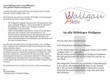 Einladung zur Mitgliederversammlung von Wallgau e.V. Aktiv am 12.03.2018 und Bitte um Unterstützung. Mit Schreiben des Bürgermeisters