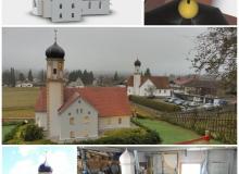 Kirche St. Jakob in Wallgau. 3D-Computermodell, Realität und gefasstes Holzmodell