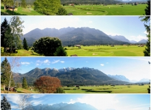 Vier Jahreszeiten. Blick auf den Golfplatz und das Karwendelgebirge bei Wallgau