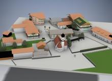 Dorfplatz Wallgau. Modell und Grafik alle Rechte Wolfgang Behling
