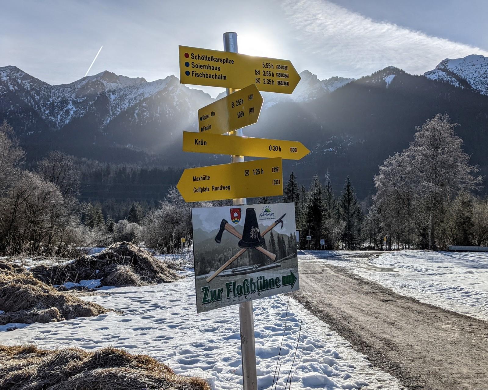 Viele Ziele am Isarsteg in Wallgau