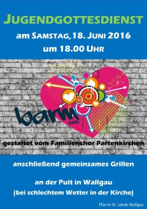 Jugendgottesdienst am 18.06.2016 in Wallgau
