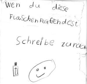 Flaschenpost am 15.08.2017 in der Isar nahe Wallgau gefunden