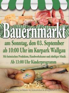 Plakat Bauernmarkt Wallgau am 03.09.2017